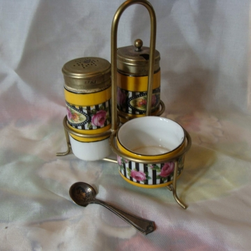 Antique EPNS Porcelain Open Salt Pepper Shakers Mustard Caddy Sterling Spoon.