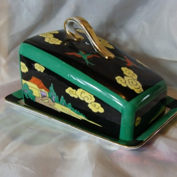 VINTAGE BRIGHT GREEN AND YELLOW LIDDED LUSTERWARE CHEESE DISH