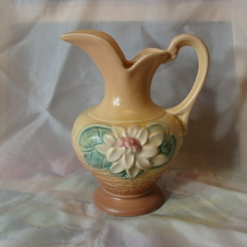Vintage HULL PITCHER with pretty Magnolia blossoms