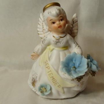 Vintage LEFTON SEPTEMBER ANGEL WITH BLUE FLOWERS