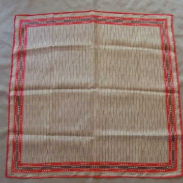 VINTAGE VERA NEUMANN ACETATE PINK & GRAY DOTTED SQUARE SCARF