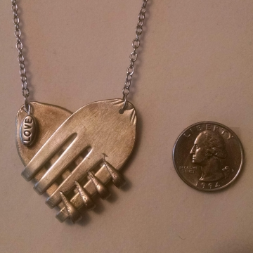 VINTAGE SILVERPLATE SILVERWARE FORKED HEARTS with LOVE CHARM