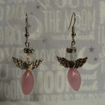 BEADED PINK ANGEL EARRINGS