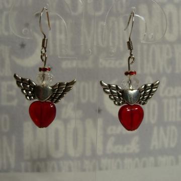 BEADED RED HEART ANGEL EARRINGS